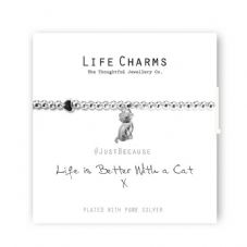 "Life Charms Bracelet - "" Life Is Better With a CAT "" - Beautifully Gift Boxed"